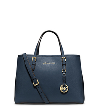 Jet Set Travel Saffiano Leather Medium Tote - NAVY - 30H3GTVT8L