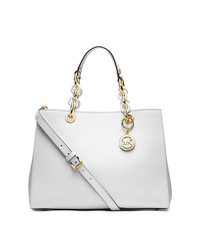 Cynthia Medium Leather Satchel - Optic White - 30S3TCYS2L