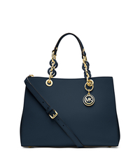 Cynthia Medium Leather Satchel - NAVY - 30S3TCYS2L