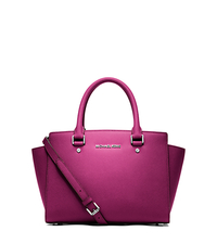Selma Medium Saffiano Leather Satchel - FUCHSIA - 30T3SLMS2L