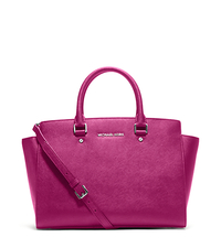 Selma Large Saffiano Leather Satchel - FUCHSIA - 30T3SLMS7L