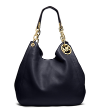 Fulton Large Leather Shoulder Bag - NAVY - 30H3GFTE3L
