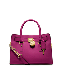 Hamilton Saffiano Leather Medium Satchel - FUCHSIA - 30S2GHMS3L