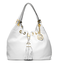 Camden Large Leather Drawstring Shoulder Bag - Optic White - 30S4GMDE3L