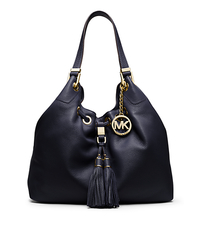 Camden Large Leather Drawstring Shoulder Bag - NAVY - 30S4GMDE3L