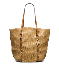 Large Studded Straw Shopper Tote - NATURAL/LUGGAGE - 30S4GSWT3W