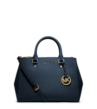 Sutton Medium Saffiano Leather Satchel - NAVY - 30S4GTVS6L