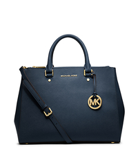 Sutton Saffiano Leather Large Satchel - NAVY - 30S4GTVS7L