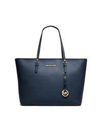 Jet Set Travel Saffiano Leather Top-Zip Tote - NAVY - 30S4GTVT2L