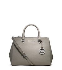 Sutton Saffiano Leather Medium Satchel - PEARL GREY - 30S4STVS6L