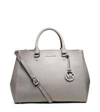 Sutton Large Saffiano Leather Satchel - PEARL GREY - 30S4STVS7L