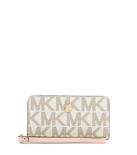 Jet Set Zip-Around Logo Travel Wallet - BROWN - 32S4GLSW1B
