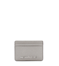 Jet Set Travel Saffiano Leather Card Case - PEARL GREY - 32S4STVD1L