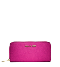 Jet Set Travel Zip-Around Saffiano Leather Continental Wallet - RASPBERRY - 32S3GTVE3L