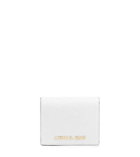 Jet Set Travel Saffiano Leather Card Holder - Optic White - 32T4GTVF2L