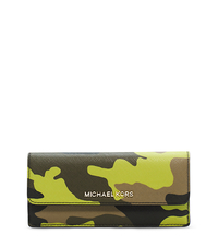 Jet Set Travel Camouflage Saffiano Leather Wallet - ACID YELLOW - 32F4GTVE9R