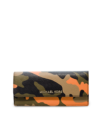 Jet Set Travel Camouflage Saffiano Leather Wallet - POPPY - 32F4GTVE9R