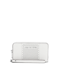 Jet Set Travel Micro-Stud Saffiano Leather Phone Wristlet - Optic White - 32F4SJDE3L