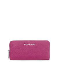 Jet Set Travel Leather Continental Wallet - DEEP PINK - 32T3STVE3L