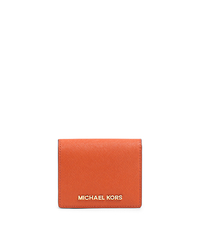 Jet Set Travel Saffiano Leather Card Holder - ORANGE - 32T4GTVF2L