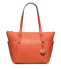 Jet Set Top-Zip Saffiano Leather Tote - ORANGE - 30F2GTTT8L