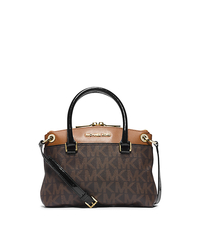 Aubrey Logo Small Satchel - BROWN/LUGGAGE - 30F4GAUS1B