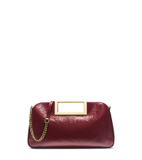 Berkley Patent-Leather Large Clutch - CLARET - 30F4GBKC3A