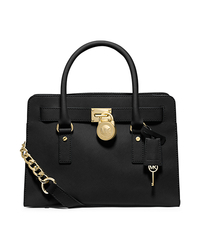 Hamilton Large Saffiano Leather Satchel - BLACK - 30F4GHMS7T