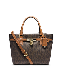 Hamilton Traveler Medium Logo Tote - BROWN/LUGGAGE - 30F4GHMT6B