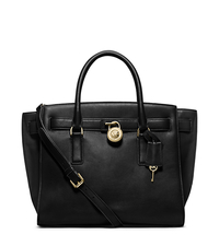 Hamilton Traveler Large Leather Satchel - BLACK - 30F4GHXS3L