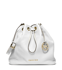 Jules Drawstring Leather Large Shoulder Bag - Optic White - 30F4GJLL3L