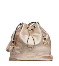 Jules Drawstring Metallic Leather Large Shoulder Bag - ONE COLOR - 30F4GJLL3M