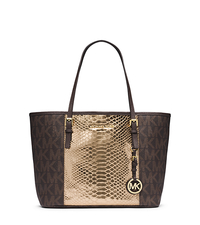 Jet Set Travel Logo Snakeskin Pattern-Embossed Leather Small Tote - ONE COLOR - 30F4GJTT1V