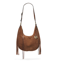Rhea Suede Large Shoulder Bag - CARAMEL - 30F4GRAL3S