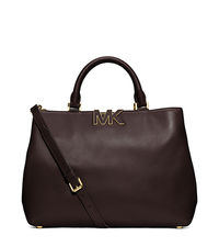 Florence Leather Large Satchel - CHOCOLATE - 30F4GRES3L