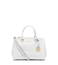 Sutton Small Saffiano Leather Satchel - OPTIC WHITE - 30F4GSUS5L