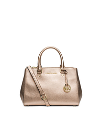 Sutton Small Metallic Leather Satchel - PALE GOLD - 30F4GSUS5M