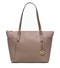 Jet Set Large Top-Zip Saffiano Leather Tote - DARK DUNE - 30F4GTTT9L