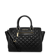 Selma Quilted Leather Large Satchel - BLACK - 30F4GZQS3L