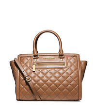 Selma Quilted Leather Large Satchel - WALNUT - 30F4GZQS3L