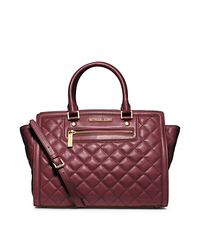 Selma Quilted Leather Large Satchel - CLARET - 30F4GZQS3L