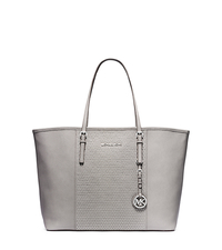 Jet Set Travel Studded Saffiano Leather Medium Tote - PEARL GREY - 30F4SJDT2L