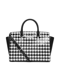Selma Houndstooth Saffiano Leather Large Satchel - ONE COLOR - 30F4SLMS7R