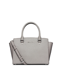 Selma Studded Saffiano Leather Medium Satchel - PEARL GREY - 30F4SMUS2L