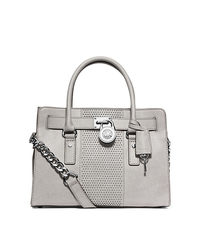 Hamilton Micro-Stud Leather Satchel - PEARL GREY - 30F4SNHS3L