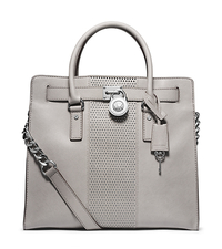 Hamilton Micro-Stud Leather Large Satchel - PEARL GREY - 30F4SNHS7L