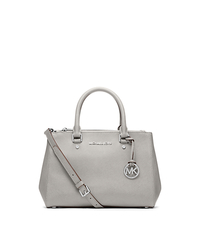 Sutton Small Saffiano Leather Satchel - PEARL GREY - 30F4SSUS5L