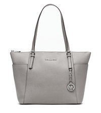 Jet Set Large Top-Zip Leather Tote - PEARL GREY - 30F4STTT9L