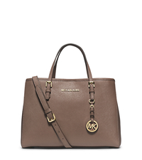 Jet Set Travel Saffiano Leather Medium Tote - DARK DUNE - 30H3GTVT8L