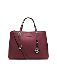 Jet Set Travel Saffiano Leather Medium Tote - CLARET - 30H3STVT8L